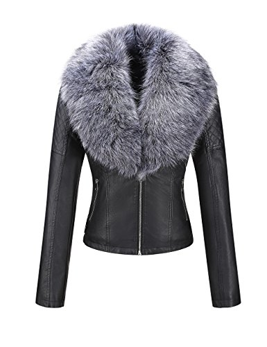 Bellivera Womens Faux Fur Collar Leather Short Jacket (Fur Collar Blazer Faux)