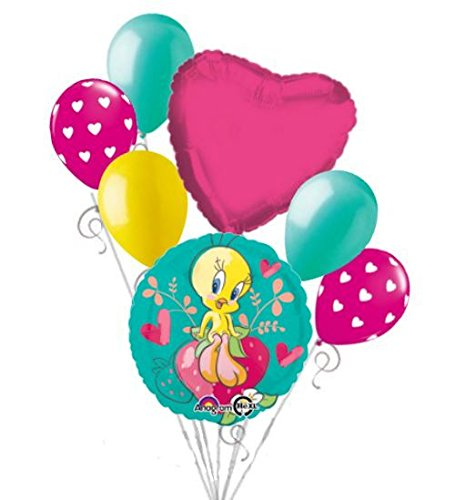 7 pc Tweety Heart Butterflies & Strawberry Balloon Bouquet Party Happy Birthday (Tweety Bird Party Supplies compare prices)