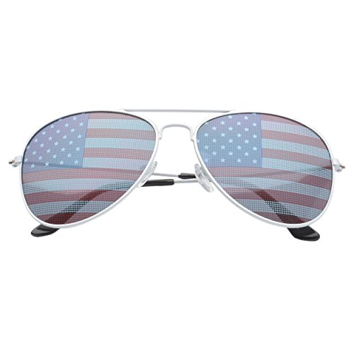 MLC EYEWEAR Patriot USA Flag Classic Teardrop Aviator Sunglasses - Made Eyewear American