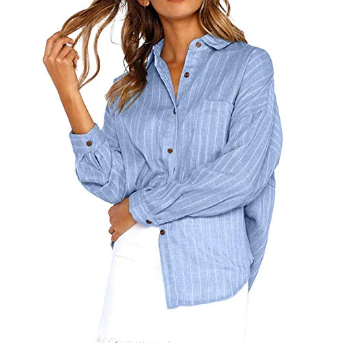GOVOW Womens Cotton Tops and Blouses Loose Fit Button Long Shirt Dress Ladies Casual T-Shirt Blouse(US:12/CN:XXL,Blue) -
