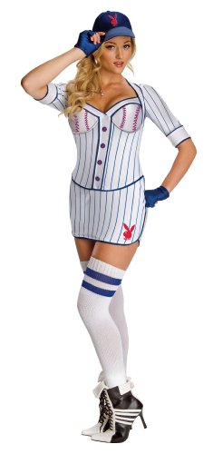 Secret Wishes Womens Playboy Grand Slam Costume, White/Blue, X-Small