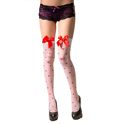 (Letdown Sexy Bow Love Heart Thigh High Stockings Women Stockings Drop)