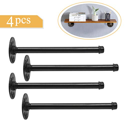 king do Way 4pcs 11'' Industrial Shelf Brackets Pipe Shelf with Iron Fittings and Flange for Vintage Home Decoration,Rustic Pipe Decor Wall Mount Shelf with All Accessories Needed