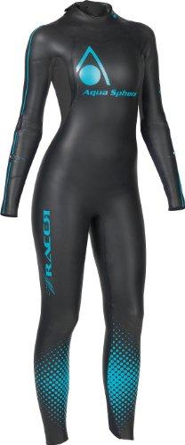 Aqua Sphere Women's Powered W-Racer Wet Suit, Black/Aqua,
