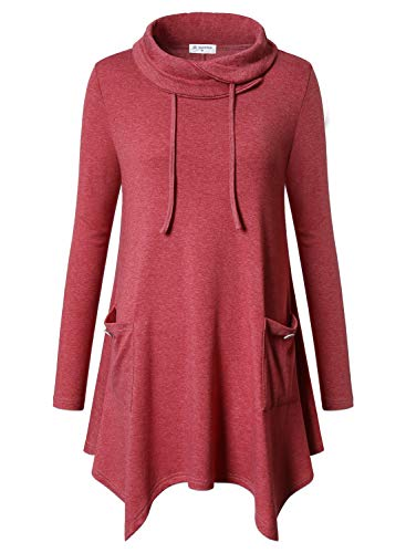 Bulotus Women's Long Sleeve Cowl Neck Cotton Winter Plus Size Tunic Tops, Light Coral, XX-Large