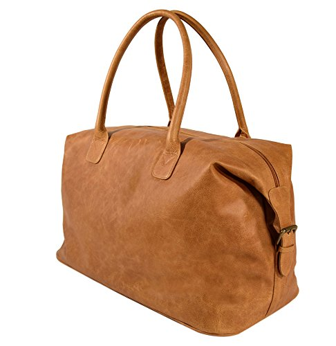 The Aartisan 21'' Handcrafted Genuine Leather Duffel Bag for Men Travel Weekend Bag (Chestnut), Free Gift Included, Multi Purpose Use by THE AARTISAN (Image #2)