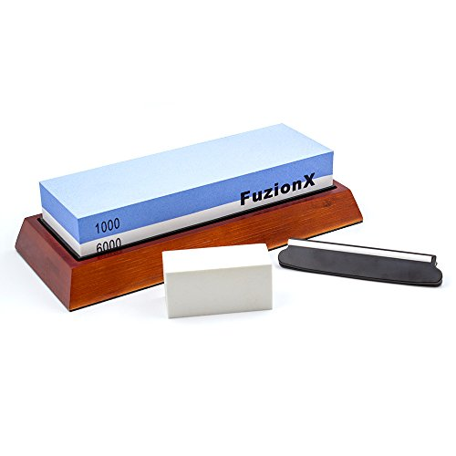 - Japanese whetstone 1000/6000 Professional Knife Sharpening System Stone with BONUS Angle guide & Flattening Stone, Premium Blade Sharpener kit, Great for any Tools