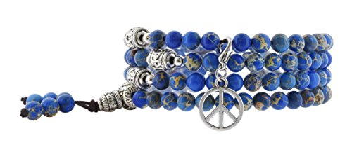 Sediment Sea Jasper (Simulated Blue Sea Sediment Jasper Mantra Prayer Beads Mala Wrap Bracelet (Peace Sign))