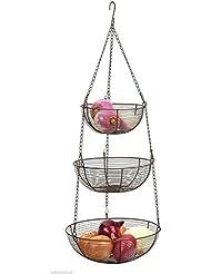 Bronze Hanging Wire Basket   3 Tier Woven Wire Hanging Basket Fruit  Vegetables Store Organize