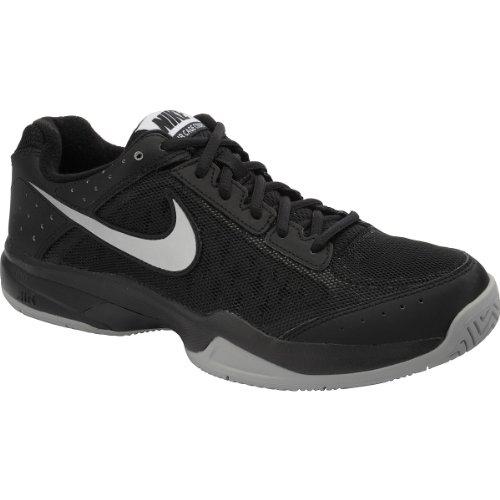 Nike Men's Air Cage Court Black/Black/Metallic Silver 7 D - Medium