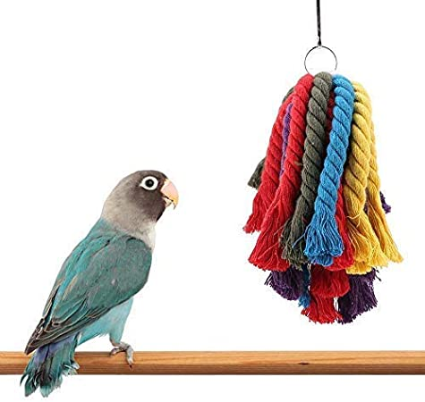 HEEPDD Parrot Bite Toys, Colorful Cotton Rope Bird Chewing Hanging Toys Jaula Accesorios para guacamayos Gris Africano Amazonas Cacatúa Periquitos Cockatiel Lovebird