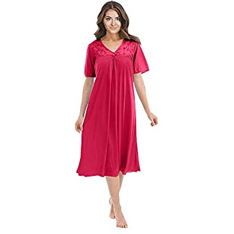 Women\'s Satin Silk Short Sleeve Lingerie Nightgown by EZI at ...