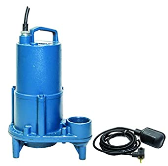115V 2 NPT Discharge 1//2 hp 1 Phase 3450 rpm Automatic Barnes 103542 Model EHV412A Submersible Effluent Pump with Piggyback Mechanical Float Switch