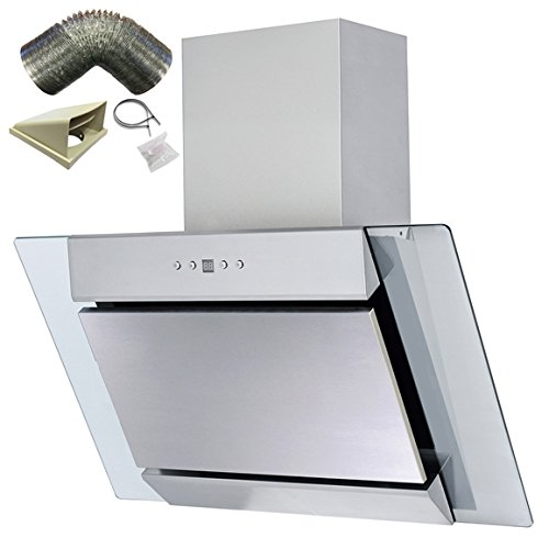 SIA AGL61SS 60cm S/Steel Angled Glass Chimney Cooker Hood Extractor+ 1m Ducting