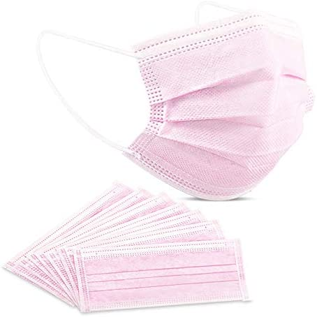 50 Packs Disposable Face Mask Pink, Eventronic 3-Ply Breathable Non-Woven Protective Masks Cover For Adults Men Women, (50, Pink)