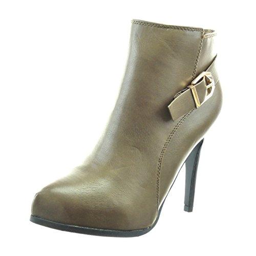 Sopily - Sapatos Da Moda Botas Sapatos Tornozelo Plataforma Das Mulheres Zipper Circuito Taupe