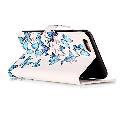 para iPhone 6/6s PU Cuero Funda, Vandot 3D Bling Rhinestones Mariposa Shell TPU Inner Bumper Case Funda con Billetera Tapa Holster Cierre Magnético Tarjeta Ranura Carcasa Teléfono Concha Bolsa Capas C DLS -9