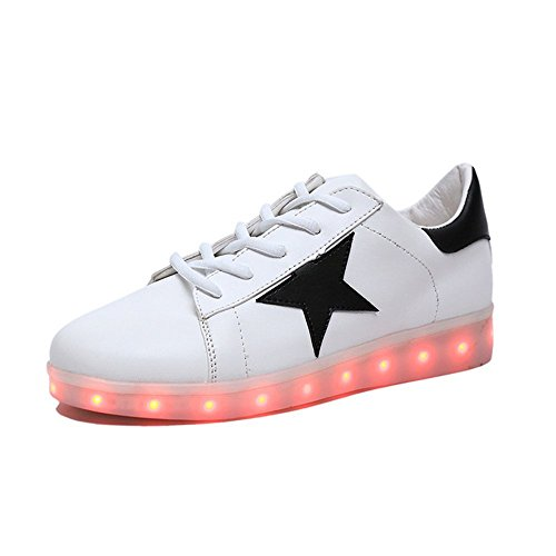 Women Sneaker Led Light Up Running Shoes USB Charging Flashing Sneakers (white 43/12 B(M) US Women / 9 D(M) US Men)