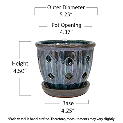 TRENDSPOT 5in Orchid Indoor Planter, 5 inch, Blue: Home & Kitchen