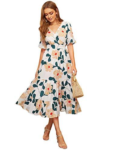 (Milumia Women Floral Print Ruffle Hem V Neck Flounce Sleeve Boho Party Maxi Dress White XL)