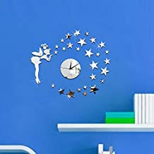Funlife 43x50cm Tinker Bell Girl Blowing Stars Fantasy Kids Bedroom 3D Wall Mirror Clock for Decoration Interior Home