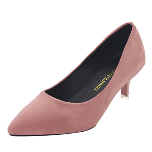 Inkach Chaussures Plates Femmes - Dames Casual Bout Pointu Chaussures À Enfiler - Mince Talons Hauts Chaussures Rose