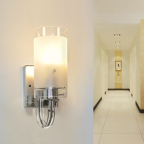 INHDBOX E27 Modern Style Silver Chrome & White Glass Cover Indoor Wall Light Lamp - for Bedside ...
