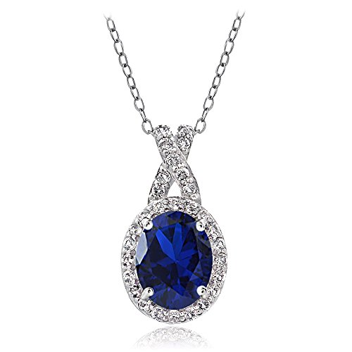 GemStar USA Sterling Silver Created Blue Sapphire & White Topaz X and Oval Pendant Necklace for Women (Silver Oval Drop Pendant)