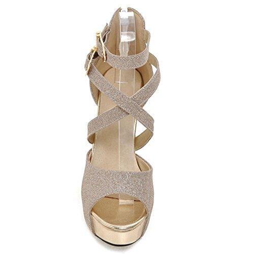 Talons RAZAMAZA Hauts Plateforme Sandales Mode 89 Femmes Gold UUzqwBnEZ
