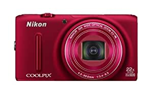 Nikon COOLPIX S9500 Wi-Fi Digital Camera with 22x Zoom and GPS (Red) (OLD MODEL)