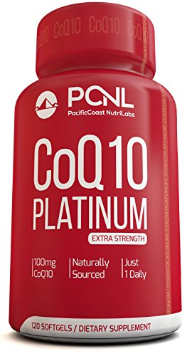 PacificCoast NutriLabs 100mg Coq10, Pure Coenzyme Ubiquinone, High Absorption, Free Ebook, 120 Count