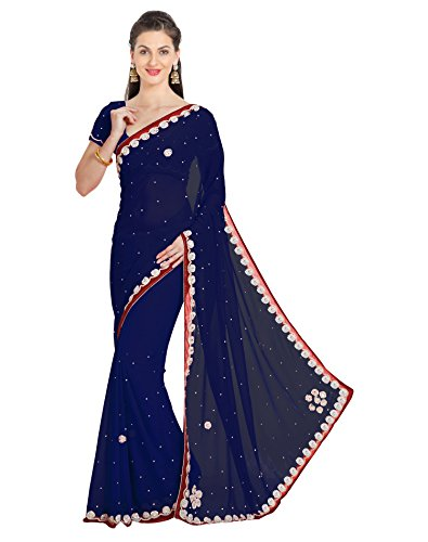 - Viva N Diva Saree for Women's Blue Color Georgette Khatli Work Saree with Un-Stiched Blouse Piece,Free Size