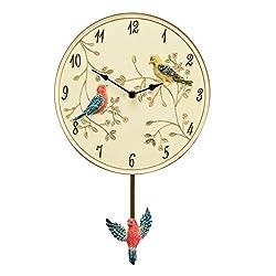 Birds On A Branch Pendulum Clock, Beige