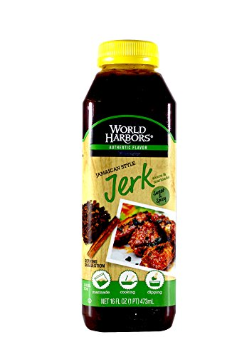 World Harbors Jamaican Style Jerk Marinade and  Sauce, 16-Ounce Bottle, (Pack of 6)