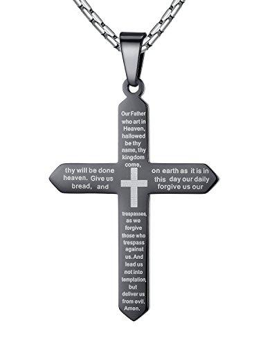 Aoiy - Collier avec pendentif hommes - Acier Inoxydable - La prière du Seigneur en anglais Écriture et Croix, Noir, chaîne 58cm, ddp055he