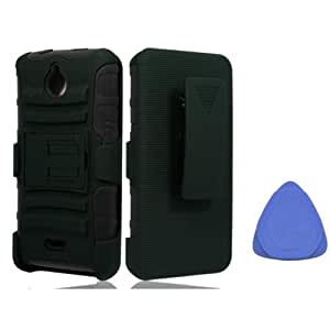 Huawei Ascend Plus H881C Valiant Y301 Hybrid Hard Case Cover Belt Clip Holster With Stand - Black + Tool