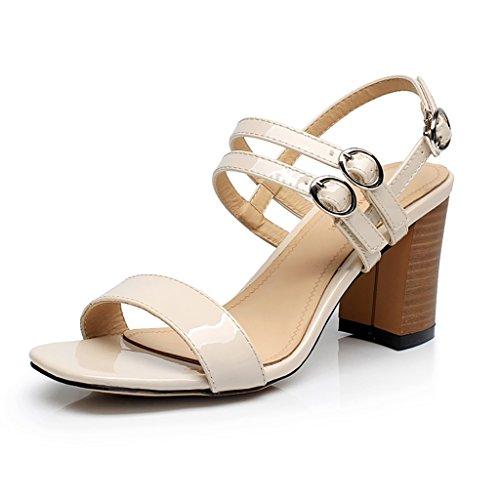 PENGFEI Chanclas de playa para mujer Zapatillas de tacón alto Zapatillas de playa de verano Zapatillas de playa Moda femenina Sandalias de cabeza cuadrada Beige y negro Cómodo y transpirable ( Color : Beige