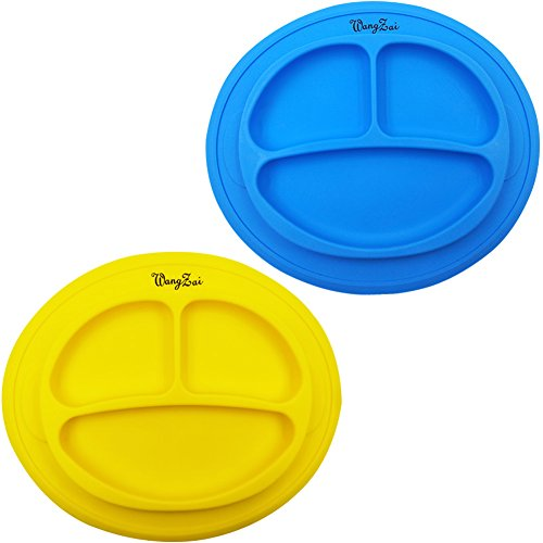 Silicone Toddler Plate Easily Wipe Clean!Dishwasher and Microwave Safe!Baby Self Feeding Plate Fit Most Highchair and Skid Resistant!Set Include 2 Color (Blue and Yellow)