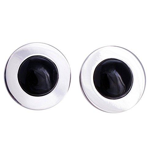 (NOVICA Obsidian .925 Sterling Silver Button Earrings 'Forever' )