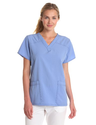 (WonderWink Women's Scrubs Four Way Stretch Sporty V-Neck Top, Ceil Blue, 3X-Large)