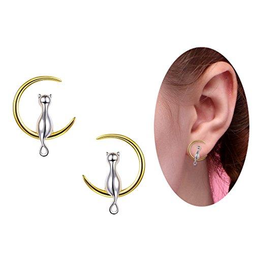 18k Earrings Two Tone (Minimalist Jewelry Bridesmaid Gift Two-tone Metal 18K Gold & Sterling Silver Cat Sitting on Moon Stud Earrings)