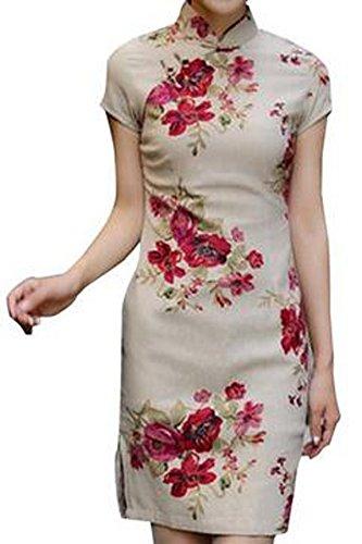 Hee Grand Women Chinese Retro Cheongsam Dress Herb Flower Style Print Chinese L