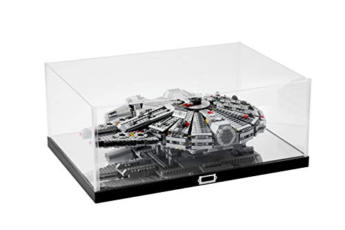 JackCubeDesign Millennium Falcon Display Case Showcase Storage Box Holder Organizer with Carbon Fiber Style Stand and Clear Acrylic Cover(Black, 20.87 x 14.17 x 8.58 inches) - :MK434A