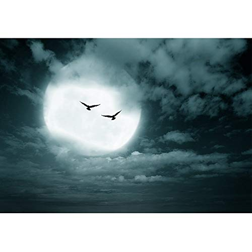 LanimioLOX Halloween Background, Full Moon and Sky, Dark Style. - Removable Wall Mural   Self-Adhesive Large Wallpaper -