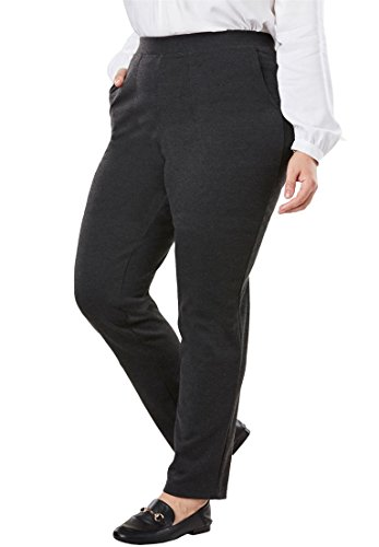 Straight Leg Pull - Woman Within Women's Plus Size Straight Leg Ponte Knit Pant
