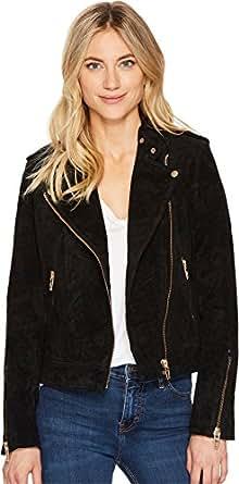 Blank NYC Women's Black Suede Moto Jacket in Onyx Onyx X-Small