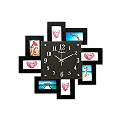 YSRHome Silent Non Ticking Vintage Modern Decorative Photo Frame Fashion Photo Studio Black 50CM Wall Clocks for Living Room Bedroom Kitchen Office, Easy to Read