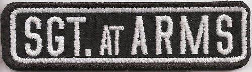BIKER Sgt AT ARMS Rangabzeichen Namensschild RankPatch Aufn/äher Patch