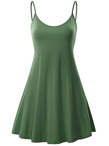 MSBASIC Womens Dress, Sleeveless Spaghetti Strap Summer Sun Mini Dress Large Green
