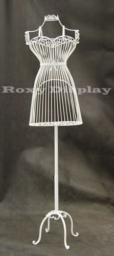 (TY-XY140075W) ROXYDISPLAYTM Female Metal Wire Form with Antique Metal Base. Color white